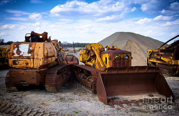 Photograph - Two Old Bulldozers by Les Palenik