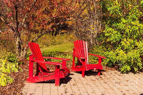 Photograph - Two Red Chairs by Les Palenik