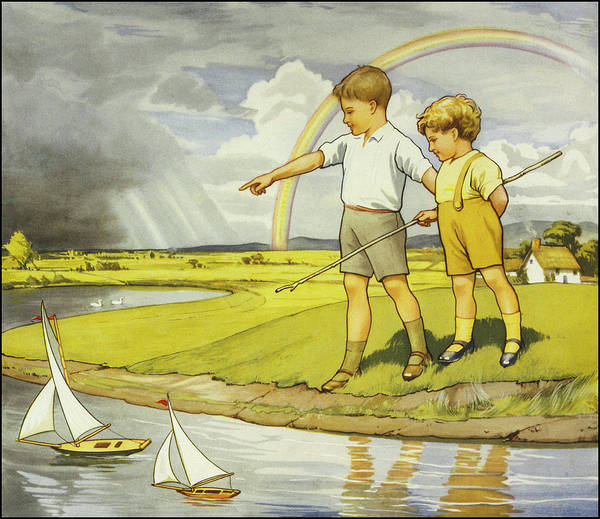 Wall Art - Drawing - Two Small Boys Race Their Toy  Yachts by Mary Evans Picture Library