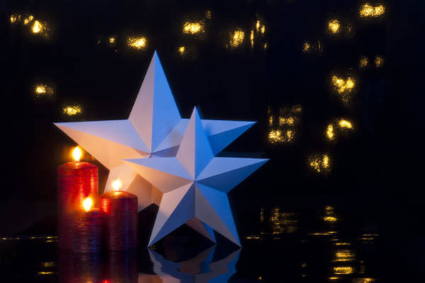 Photograph - Two Stars In Front Of Dark Background by U Schade