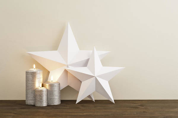 Photograph - Two Stars With Silver Candles by U Schade