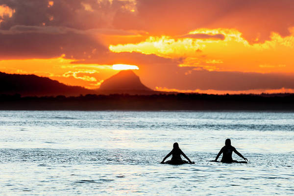 Noosa Wall Art - Photograph - Two Surfers Wait For A Wave At Sunset by Andrew Peacock