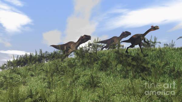 Digital Art - Two Utahraptors Chasing A Gigantoraptor by Kostyantyn Ivanyshen