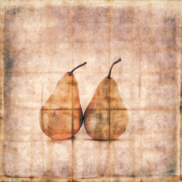 Pair Wall Art - Photograph - Two Yellow Pears On Folded Linen by Carol Leigh