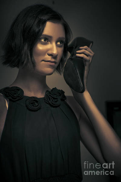 Coverts Photograph - Undercover Secret Agent Using Shoe Phone by Jorgo Photography - Wall Art Gallery