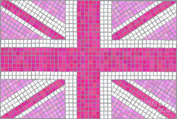 Cute Digital Art - Union Jack Pink by Jane Rix