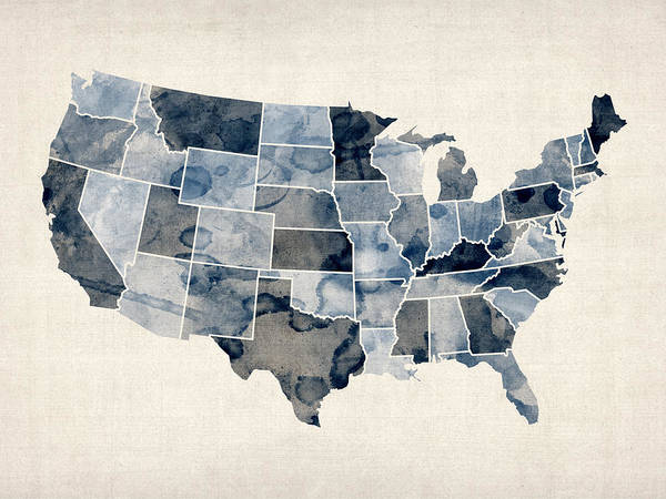 Wall Art - Digital Art - United States Watercolor Map by Michael Tompsett