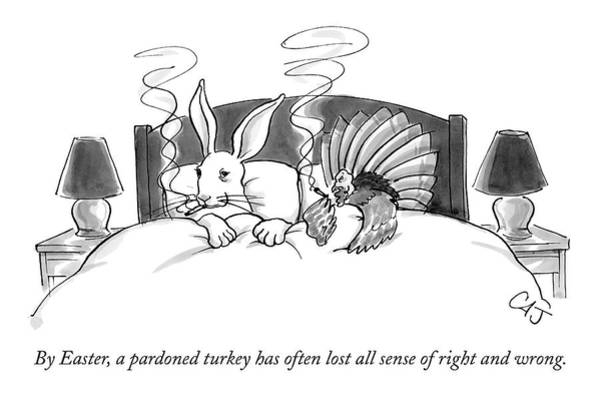 Thanksgiving Drawing - By Easter, A Pardoned Turkey Has Often Lost All by Carolita Johnson