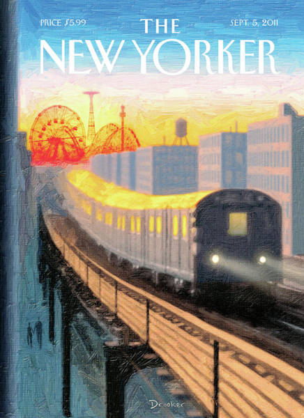 Trains Painting - New Yorker September 5th, 2011 by Eric Drooker
