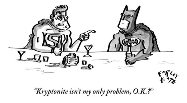 Superhero Drawing - Kryptonite Isn't My Only Problem by Farley Katz