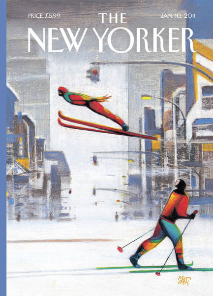 Skiing Painting - New Yorker January 10th, 2011 by Lorenzo Mattotti