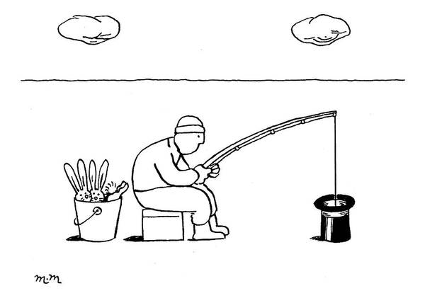 Fishing Drawing - New Yorker February 9th, 2009 by Matthew Martin