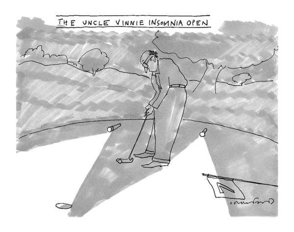 Golf Drawing - New Yorker August 1st, 2016 by Michael Crawford