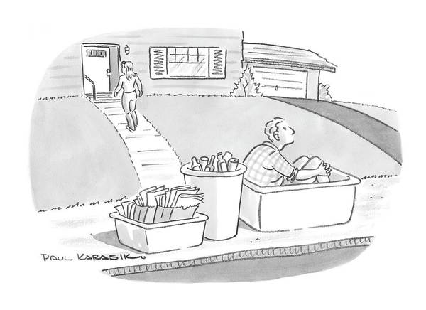 Marriage Drawing - New Yorker August 11th, 2008 by Paul Karasik