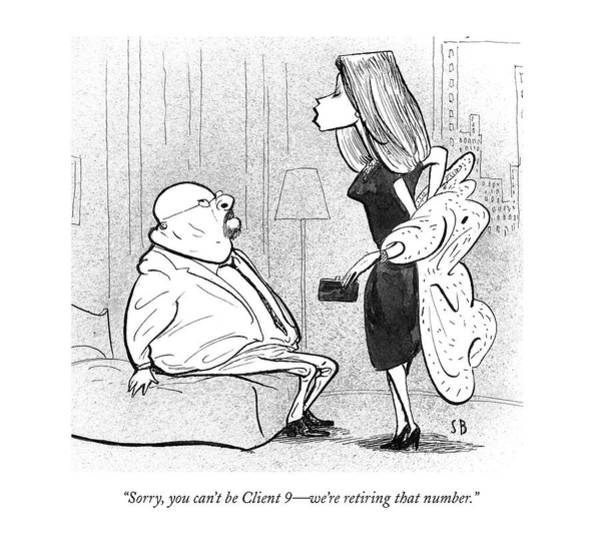 Scandal Drawing - Sorry, You Can't Be Client 9 - We're Retiring by Steve Brodner