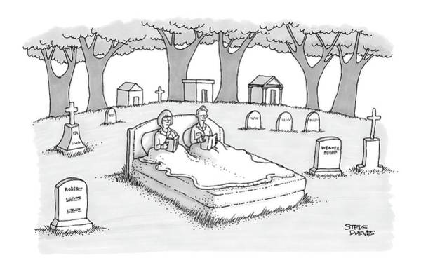 Gravestone Drawing - New Yorker June 13th, 2005 by Steve Duenes