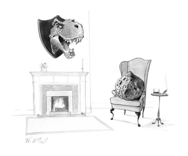 Dinosaurs Drawing - New Yorker February 13th, 2017 by Will McPhail