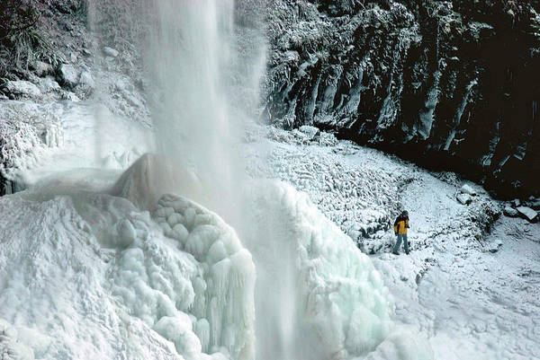 Silverton Photograph - Unusual Ice Formation, North Falls by Timothy Herpel
