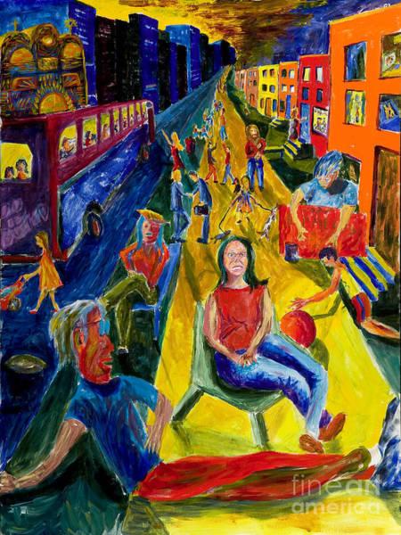Painting - Urban Street People by Walt Brodis