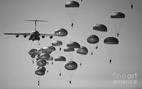 Cargo Plane Wall Art - Photograph - U.s. Army Paratroopers Jumping by Stocktrek Images