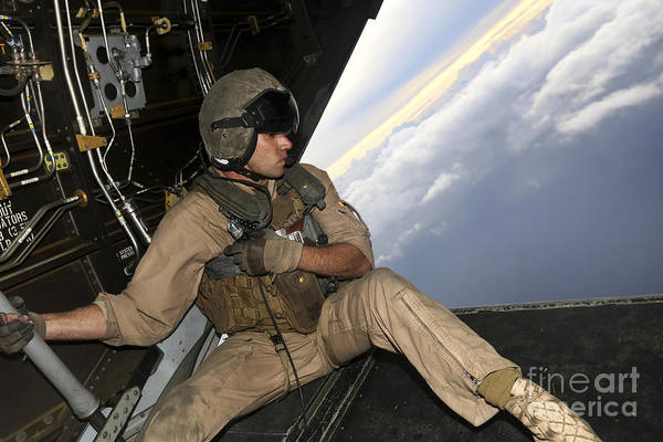 Mv-22 Photograph - U.s. Marine Provides Aerial Security by Stocktrek Images