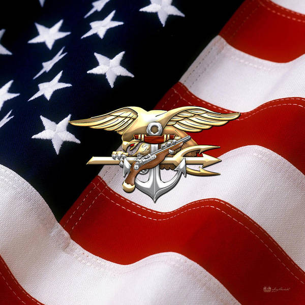 Digital Art - U. S. Navy S E A Ls Emblem Over American Flag by Serge Averbukh