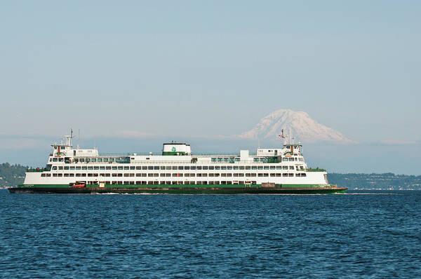 Ferry Photograph - Us, Wa, Seattle Volcanic Mt Rainier by Trish Drury