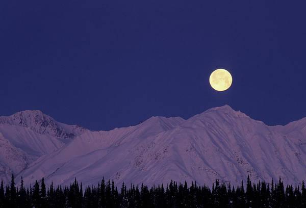 Wall Art - Photograph - Usa, Alaska, Alaska Range, Full Moon by Gerry Reynolds