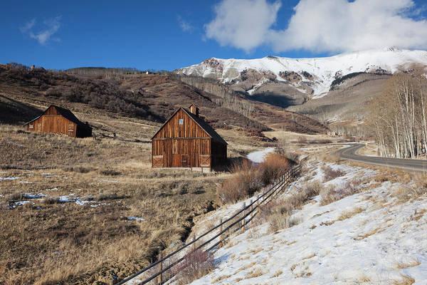Telluride Photograph - Usa, Colorado, Telluride, Wood Barns by Walter Bibikow