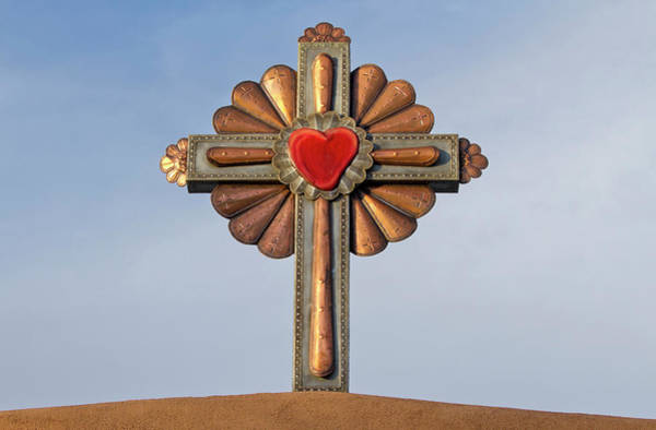 Sacred Heart Photograph - Usa, New Mexico, Chimayo, Gilded Cross by Luc Novovitch