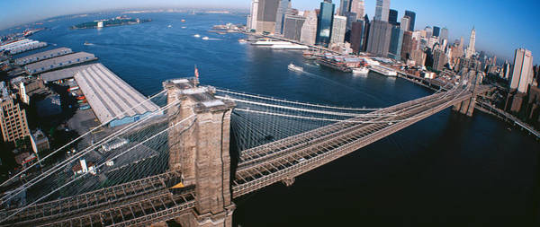 Rise Above Wall Art - Photograph - Usa, New York, Brooklyn Bridge, Aerial by Panoramic Images