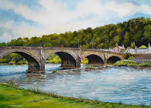 Great Britain Painting - Usk Bridge by Andrew Read