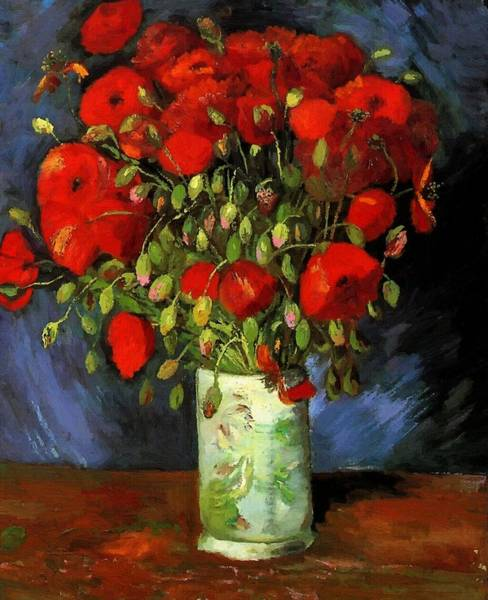 Vase With Red Poppies Art Print
