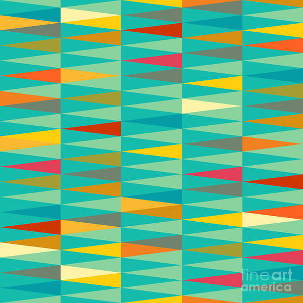 Vibrant Color Wall Art - Digital Art - Vector Abstract Geometric Triangle by Babayuka
