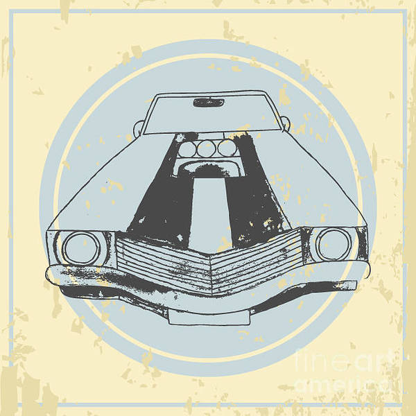 Wall Art - Digital Art - Vector American Muscle Car. Retro Car by Ronaleksandra