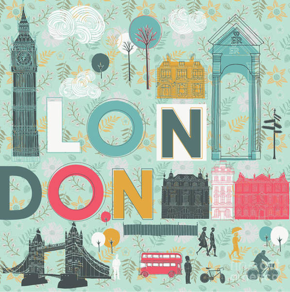 Wall Art - Digital Art - Vector London Symbols by Lavandaart