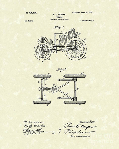 Drawing - Vehicle 1901 Patent Art by Prior Art Design