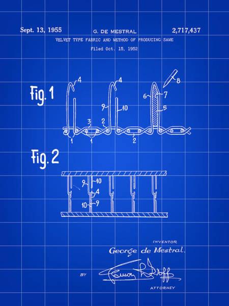 Crochet Digital Art - Velcro Patent 1952 - Blue by Stephen Younts