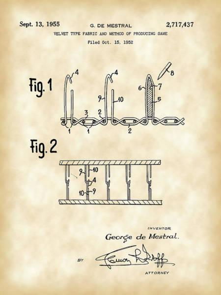 Crochet Digital Art - Velcro Patent 1952 - Vintage by Stephen Younts