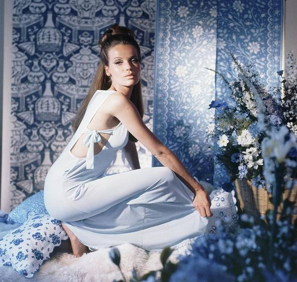 Veruschka Wearing Blue Nightgown Art Print by Horst P. Horst