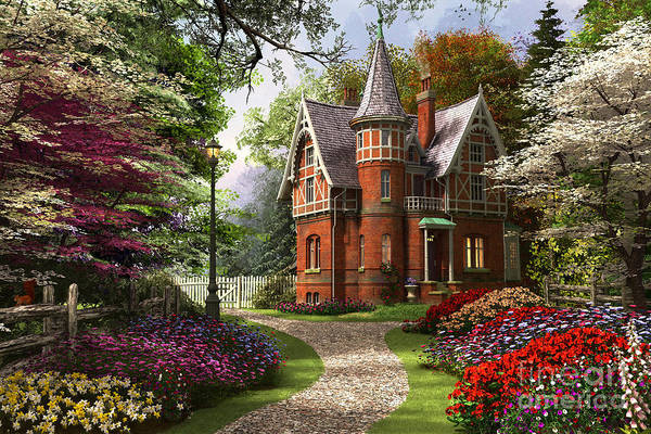 Wall Art - Digital Art - Victorian Cottage In Bloom by Dominic Davison
