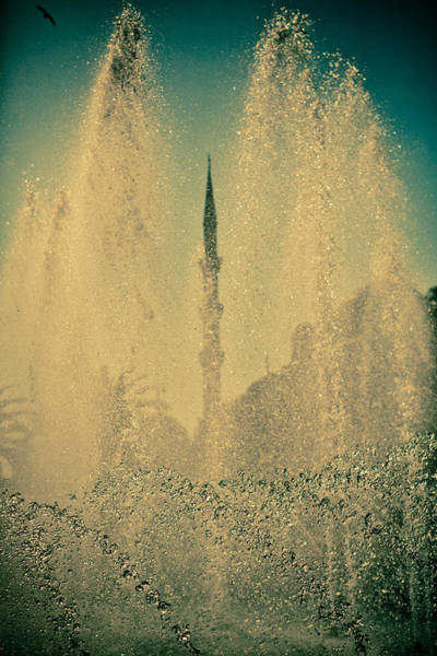 Photograph - view from fountain Silhouettes of Blue Mosque by Raimond Klavins