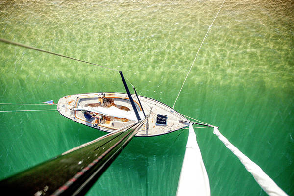 Mast Photograph - View From Mast Of Sailboat, Banc by Christophe Launay