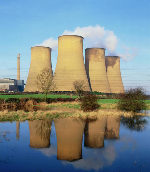 Coals Wall Art - Photograph - View Of A Power Station Reflected In Flooded Field by Martin Bond/science Photo Library