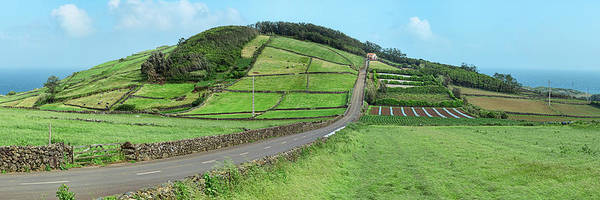 Azores Photograph - View Of Farmland Along Coast, Terceira by Panoramic Images