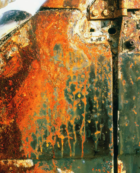 Corrosion Photograph - View Of Rust On The Door Of An Abandoned Vehicle by Martin Bond/science Photo Library