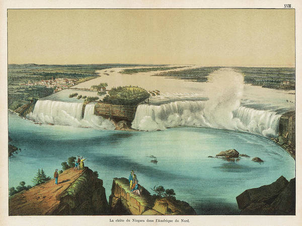 Wall Art - Drawing - View Of The Niagara Falls by Mary Evans Picture Library
