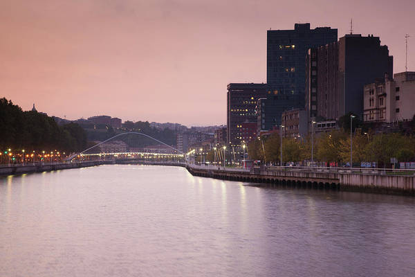 Bilbao Photograph - View Of The Zubizuri Bridge On Nervion by Panoramic Images