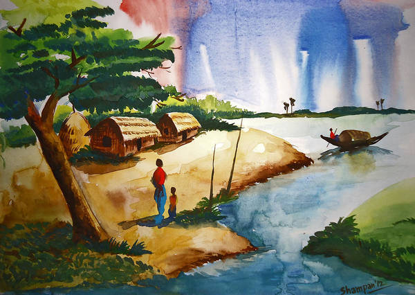 Bangladesh Painting - Village Landscape Of Bangladesh by Shakhenabat Kasana