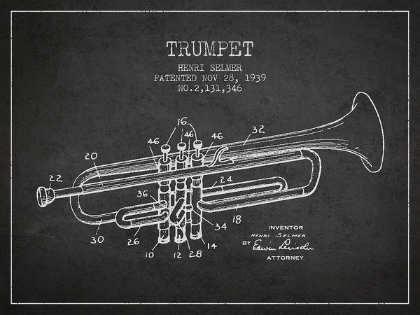 Patent Application Wall Art - Digital Art - Vinatge Trumpet Patent From 1939 by Aged Pixel